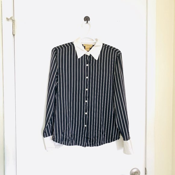 A.J. Christopher VTG Silk Striped Blouse, Size 6